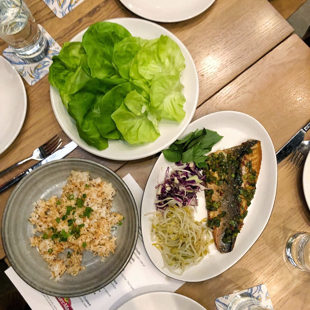 Branzino ssam with ginger garlic rice