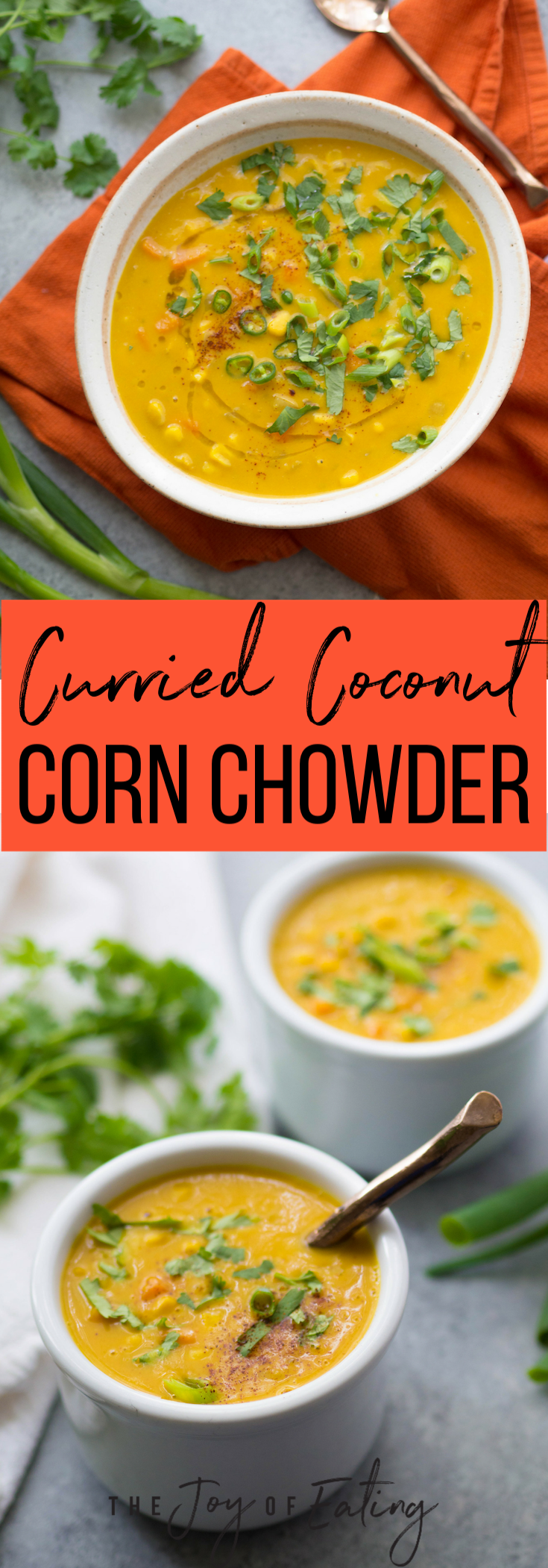 Make this vegan curried coconut corn chowder! It's packed with flavor from curry, turmeric and ginger, and tons of creamy texture from coconut milk! #soup #vegan #vegetarian #glutenfree #healthyrecipe #corn #coconut #easyrecipe