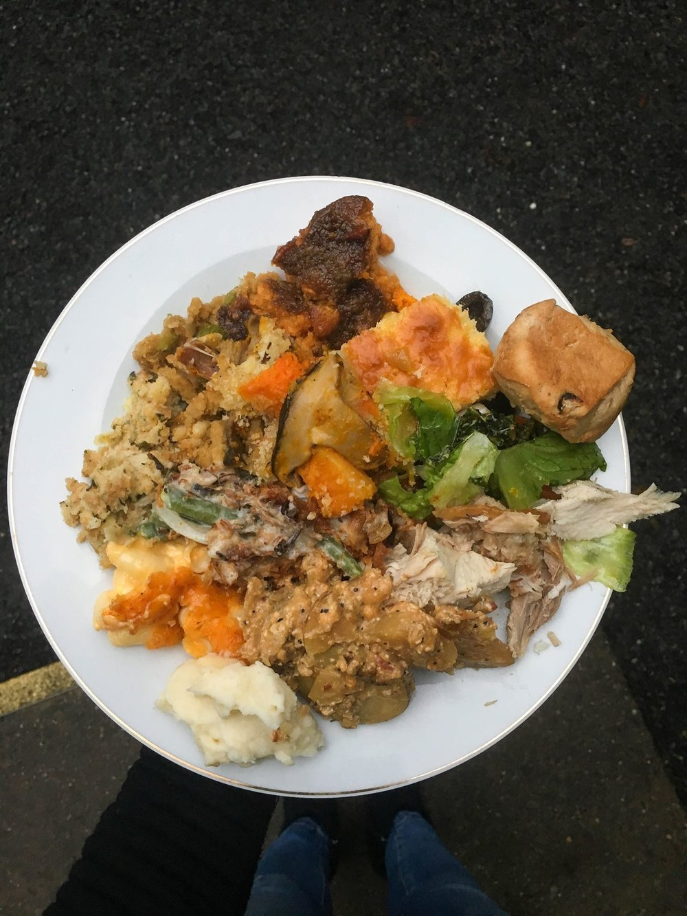 Last years Thanksgiving plate. Solid sides to turkey ratio here.