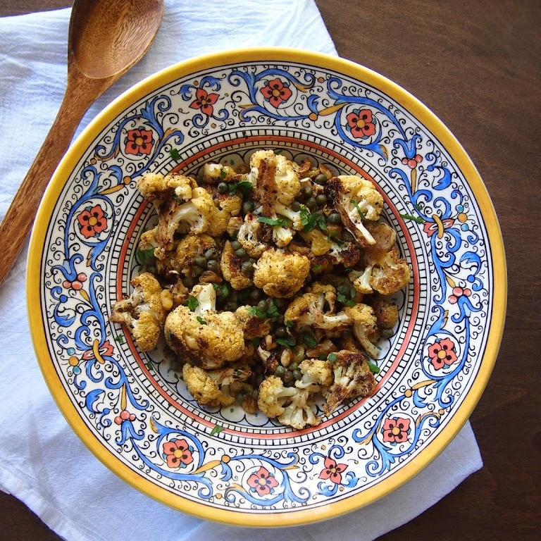 Caramelized Cauliflower with Golden Raisins