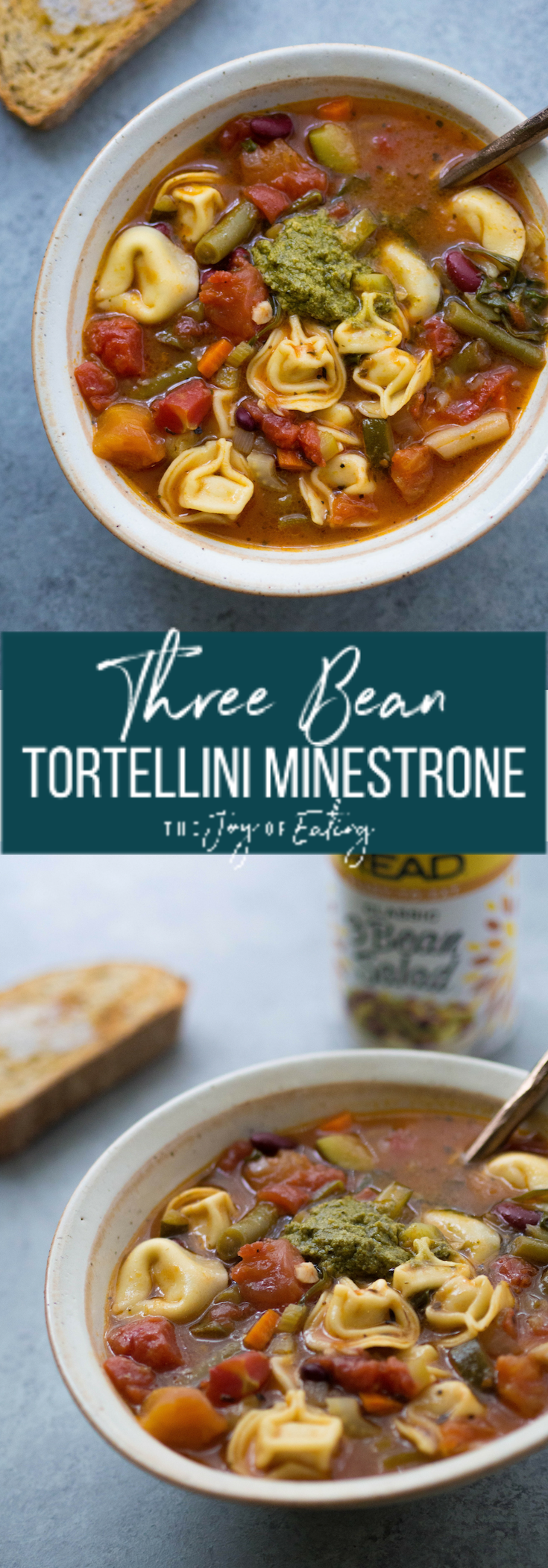 This Three Bean Tortellini Minestrone tastes like it's been simmering all day, but you can make it in just over 30 minutes! #soup #tortellini #minestrone #minestronesoup #vegetarian #healthydinner