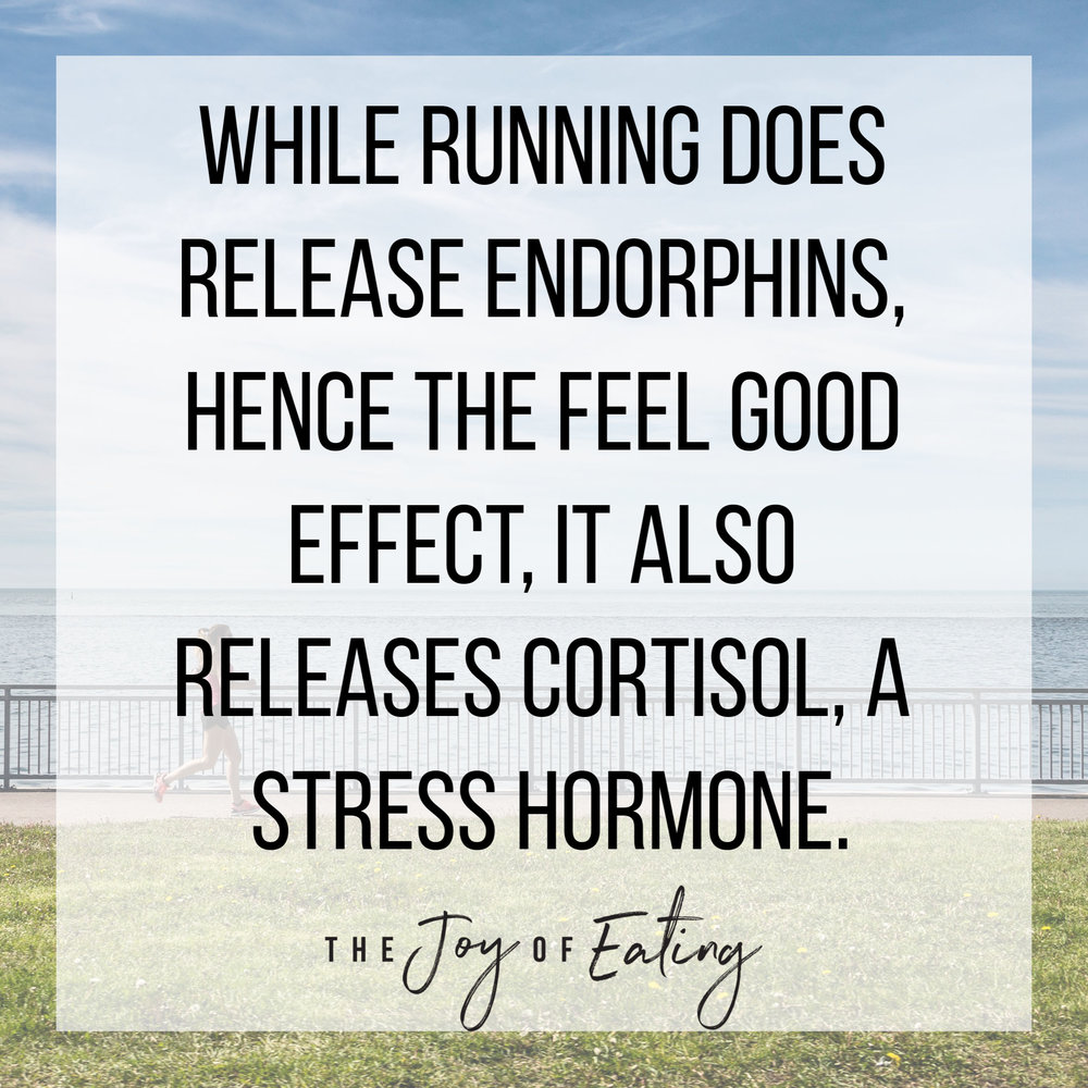 Running is pretty universally accepted as being a stress reliever, but physically, running is a stressor. That's not to say running is bad for you - you just want to have the nutrition and rest to support it! #running #fitness #health #marathontraining #halfmarathontraining #training #exercise #intuitiveeating #haes