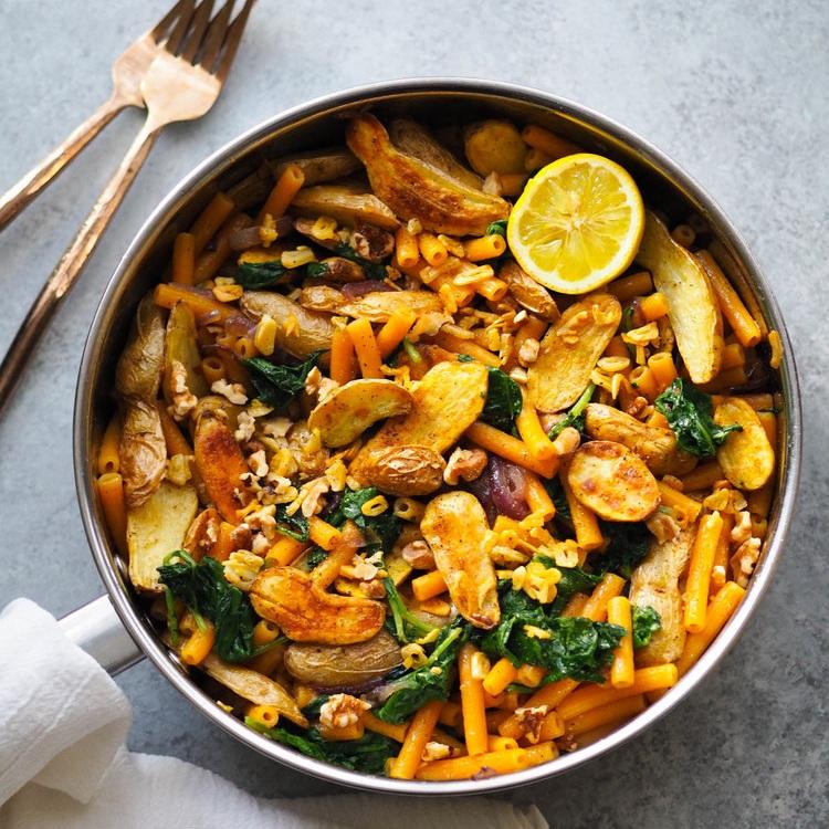Lentil Pasta with Roasted Fingerlings, Kale and Crispy Garlic
