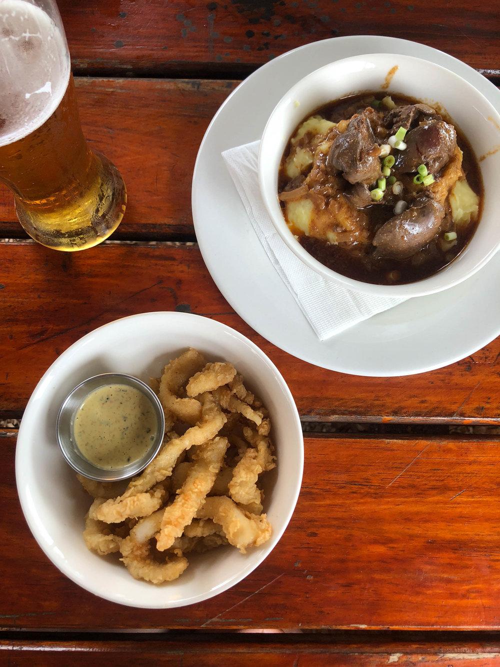Peri-Peri chicken livers and mash and calamari
