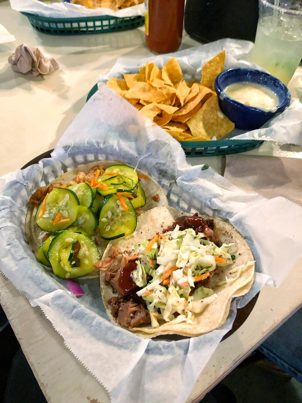 Woke up early this weekend to visit Greenville, had a small-ish lunch before a going to a talk, so I was pretty significantly meal hungry by 5. Ate these tacos from White Duck (Bangkok shrimp with pickled cucumbers, BBQ jackfruit with beans and slaw), plus most of the chips with queso.