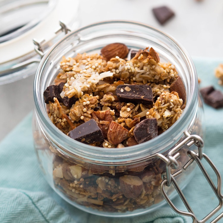 Dark Chocolate Quinoa Coconut Granola