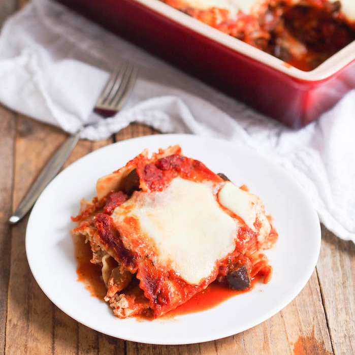 "Vegetarian Lasagna with Eggplant and Mushroom ""Meat"" Sauce"