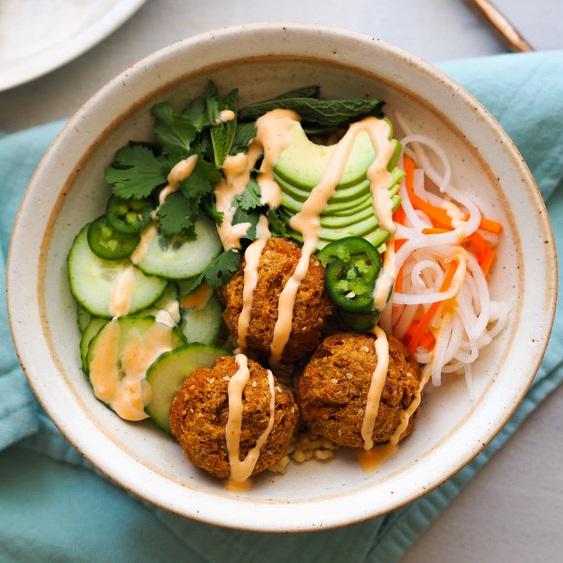 Banh Mi Bowl with Lemongrass Tofu Balls
