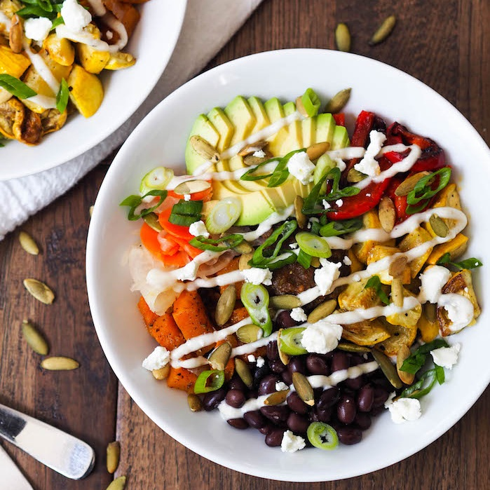 Spicy Butternut Brown Rice Bowl with Cumin Crema