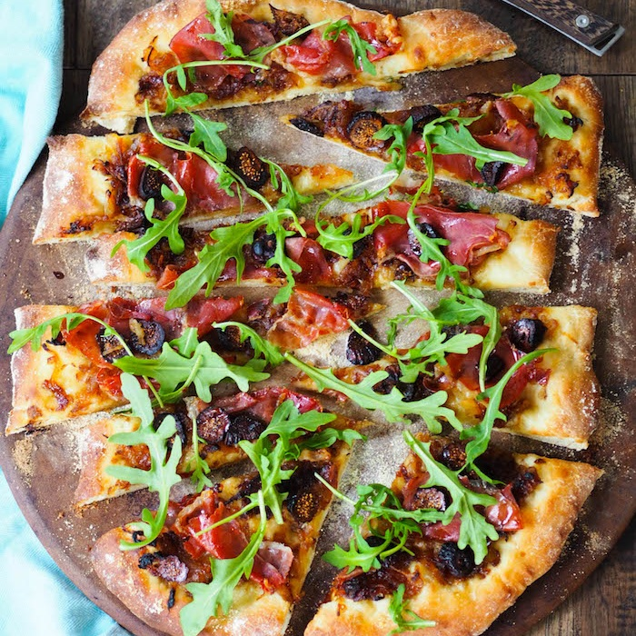 Caramelized Onion Flatbread with with Prosciutto and Figs