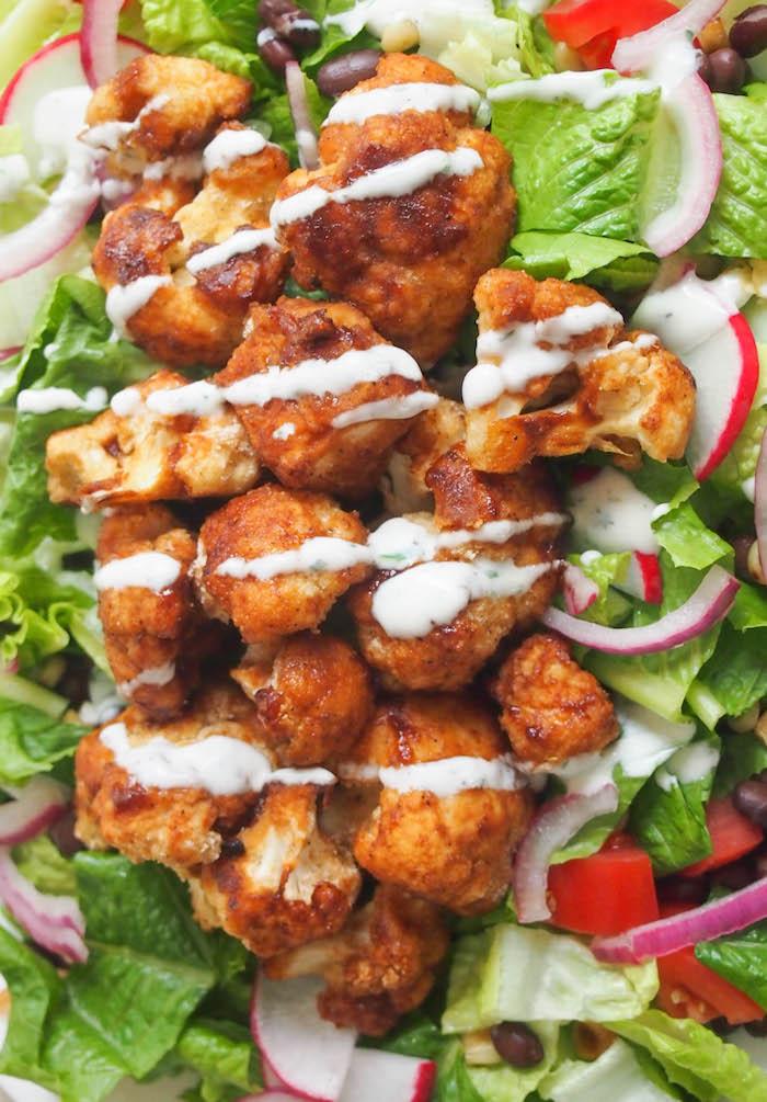 Southwest Salad with Crispy Barbecue Cauliflower and Yogurt Ranch #salad #cauliflower #healthy #ranch