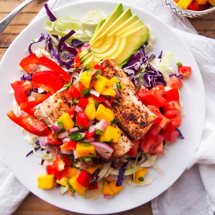 Spicy Fish Taco Salad with Mango Salsa