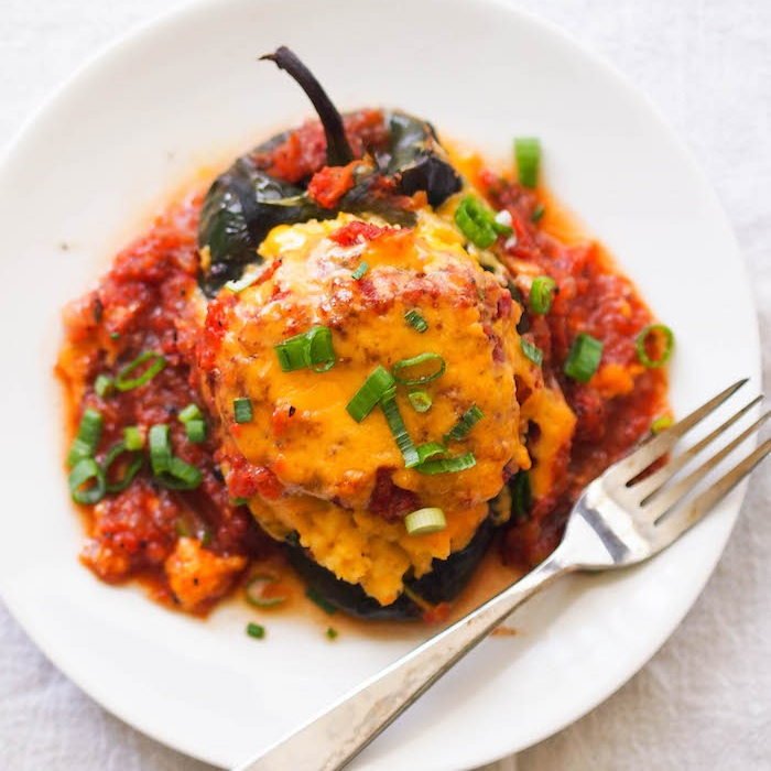 Cheese Grits Stuffed Poblanos with Tomato Gravy