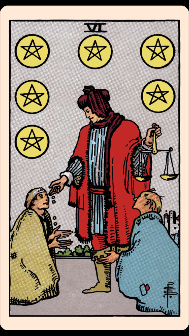 The Card Of The Day The Six Of Pentacles Elliot Oracle Tarot Card Readings Upright pentacles and pentagrams are among the most widely used religious symbols. elliot oracle