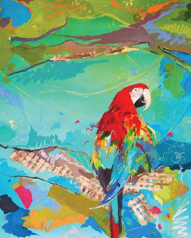 Bringing some colour to your timeline with this vibrant 'Parrot' painting by the beautifil @carolinapiteira. ❤💜💙💛 #CarolinaPiteira #oilpainting #parrot #Portugal #Brazil #colour #abstractart #contemporaryartist