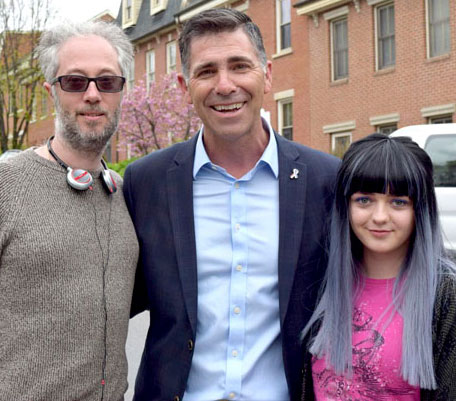 Producer Claude Dal Farra, Ulster County Executive Mike Hein and Maisie Williams