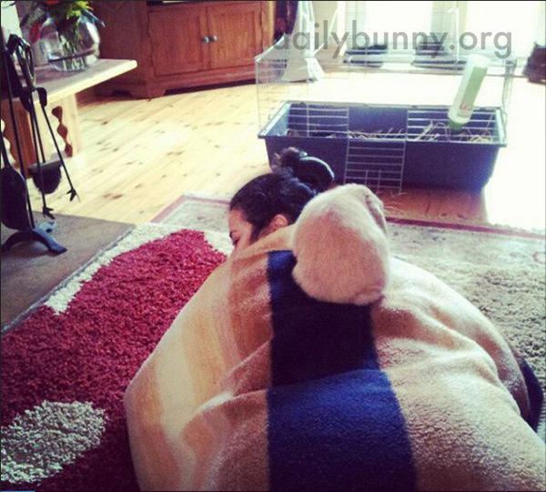 Bunny Sits on His Human