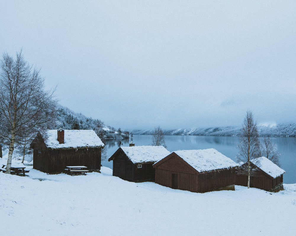Old traditional Norwegian houses, looking over the lake