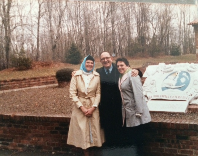 Grandma Kathleen (on the left) with Brother Charles Todel and a friend, at the retreat center where we will be in August.