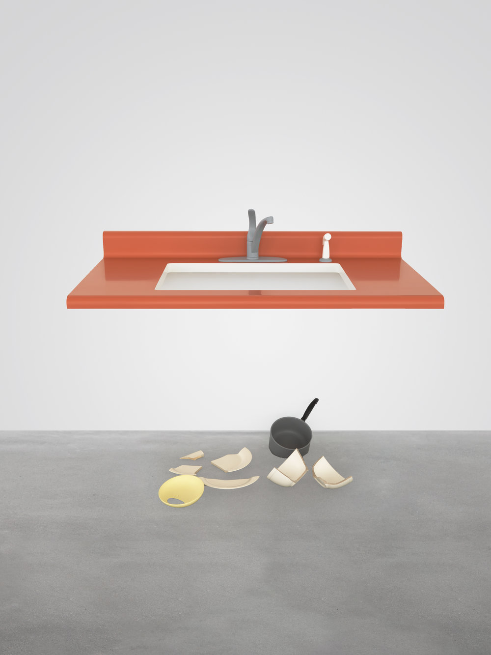 Untitled (kitchen sink, broken dishes), 2005
