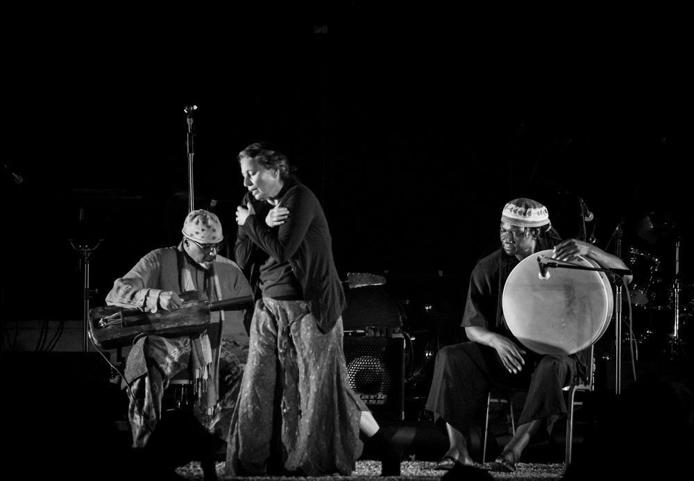 William Parker, Patricia Parker, and a guest drummer, Hamid Drake