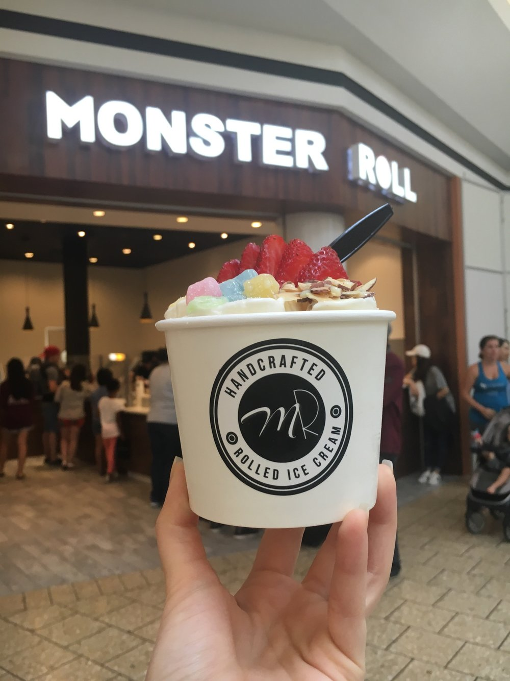 Grand opening of Monster Roll Ice Cream in Fair Oaks mall. Free toppings all day July 29th!