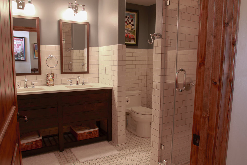 The guest bath is as beautiful as it is functional.