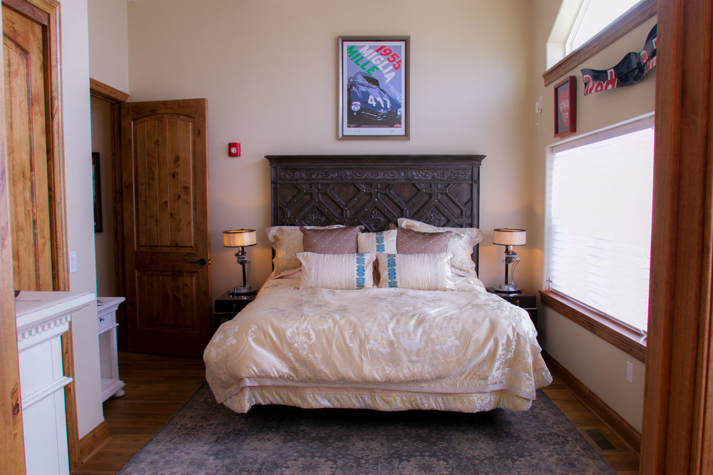Maranello's master suite is breathtaking. Windows overlook the complex, while small accents make the room cozy and serene.