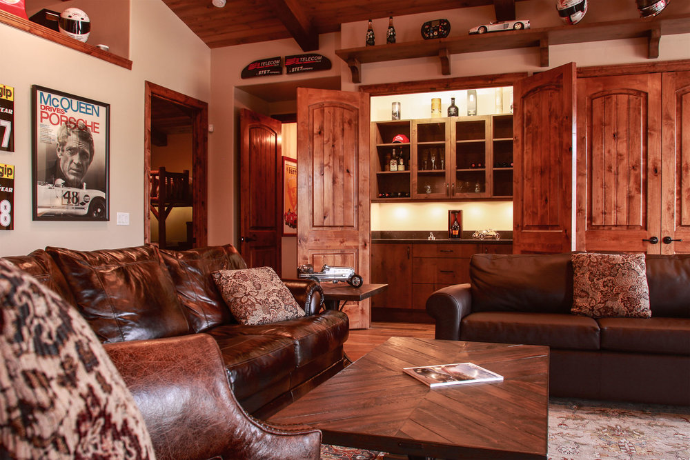 The oversized living area is meant for spending time with family and friends.