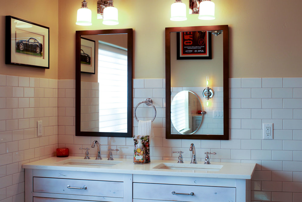 """Double vanities in the master bath offer additional """"getting ready"""" space for you and your guests."""