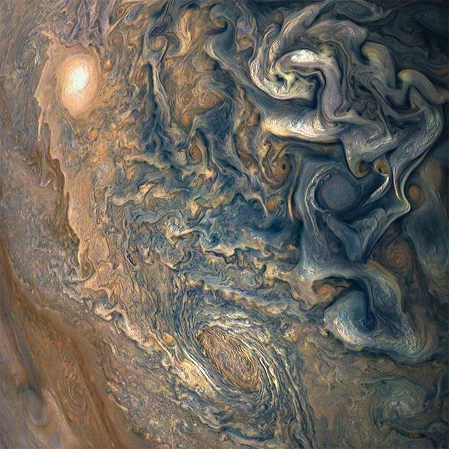 @NASAJuno was a little more than one Earth diameter (12,741.9 Km or 7,917.5 Miles) from Jupiter when it took this photo of the tumultuous atmosphere. - Photo Credit: @nasa, @nasajuno - #Space #NASA #Jupiter #Juno #Astrophotography #Science #Satellite
