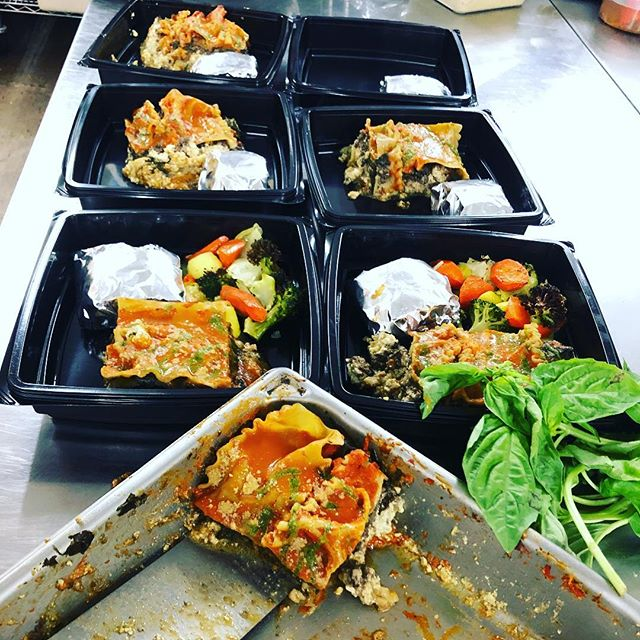 Lasagne Wednesday take out dinners are getting packaged! Did you place your order? 760-832-9007. #spinach #mushroomduxelle #ricotta #roastedveggies #madeextra #garlicparmtoast #vegan