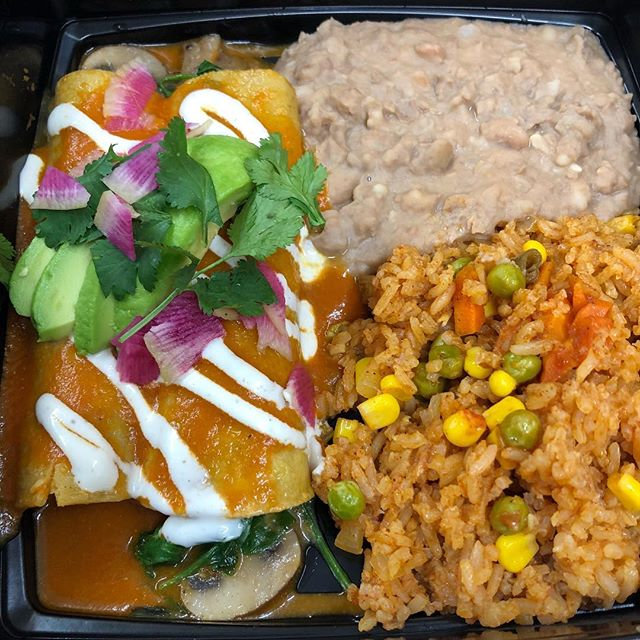 We are doing it again by popular demand! Enchiladas with spinach and mushrooms and Crack cheese for your Wednesday night dining pleasure Call and pick one up on your way home they are waiting ...760-832-9007 #cheftanyaskitchen  #vegan #enchiladas # eatplants #veganpalmsprings
