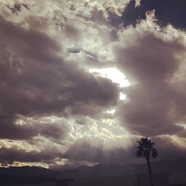 Cooking to this view today! #cheftanyaskitchen  #inspiration #palmsprings #vegan #eatplants #cloudscape