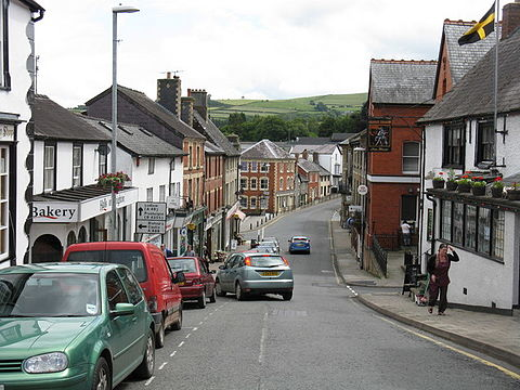 Broad Street, Knighton's main shopping street, with many independent shops.