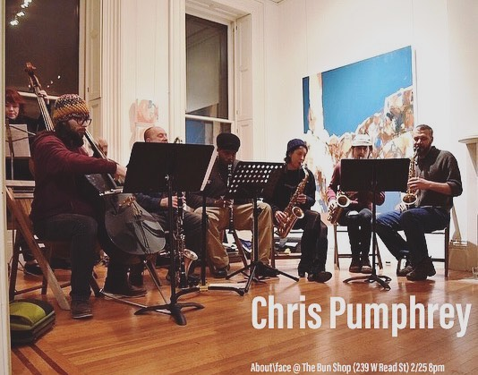 Come hear original music for wind and string octet by Baltimore composer, multi-instrumentalist, and bandleader Chris Pumphrey at The Bun Shop this Sunday! 2/25 8pm 239 W Read St. BYOB & FREE w/ suggested donation. —— Chris Pumphrey is a composer and multi-instrumentalist living in Baltimore City.  Chris studied composition with Stuart Saunders Smith and writes music for many different ensembles and styles. His current working group is The Mondawmen; a six piece jazz group with whom he writes and plays Rhodes keyboard for.  He is a frequent collaborator with the free improv group Microkingdom, Dave Ballou's Leap, and the contemporary music ensemble-Mind on Fire. Chris is the musical director of The Baltimore Afrobeat Society, which focuses on playing the music of Fela Kuti. Ensemble: Chris Pumphrey - alto sax Jarrett Gilgore - alto sax Sarah Hughes - alto sax Derrick Michaels - tenor sax John Dierker - bass clarinet Zack Branch - cello Maeve Royce - double bass Alex Webber - double bass