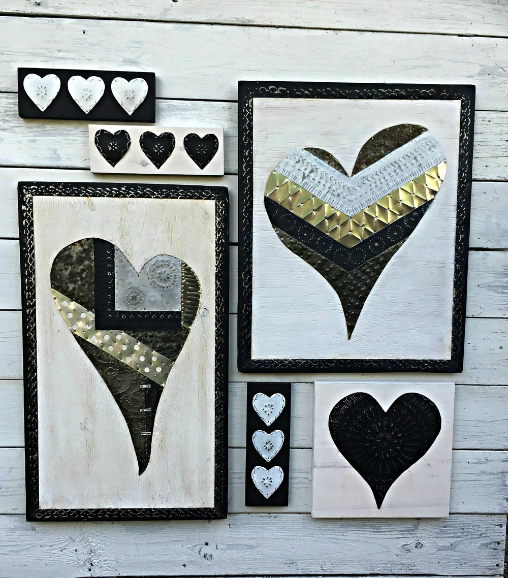 Quilted Tin Hearts