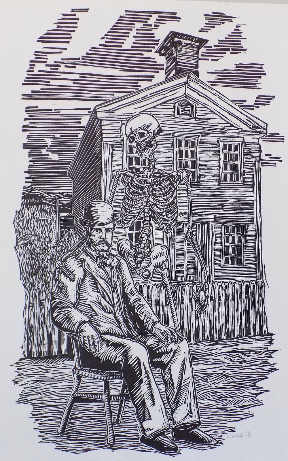 """""""THE FINAL GARBAGE DAY"""" WOODCUT PRINT"""