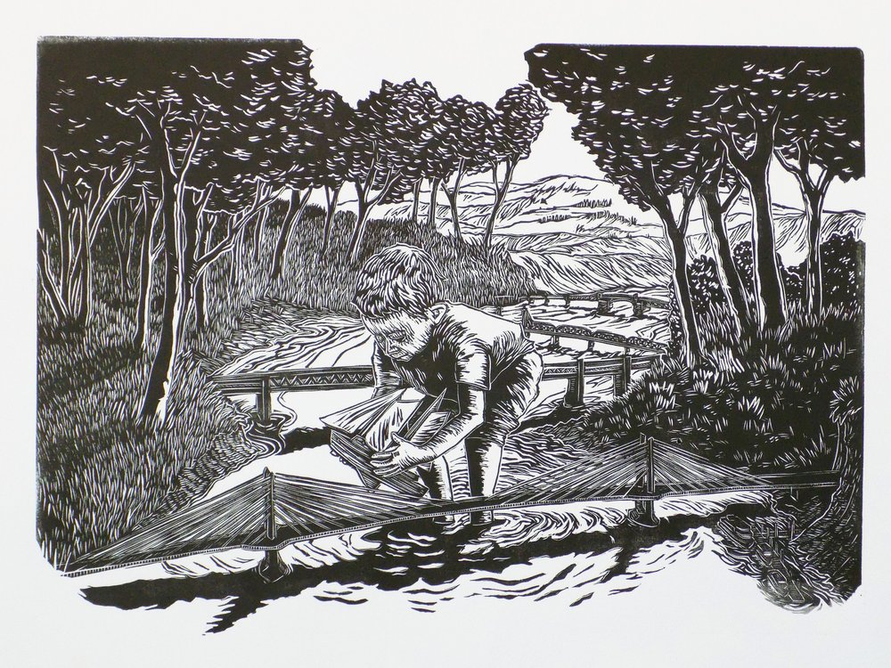 """'A BOY AND HIS BOAT"""" LINOCUT"""