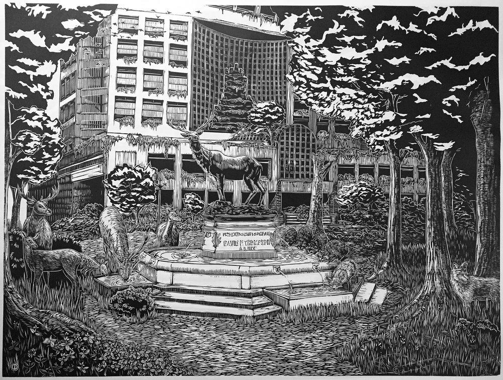 """Thompson Fountain"" woodcut"