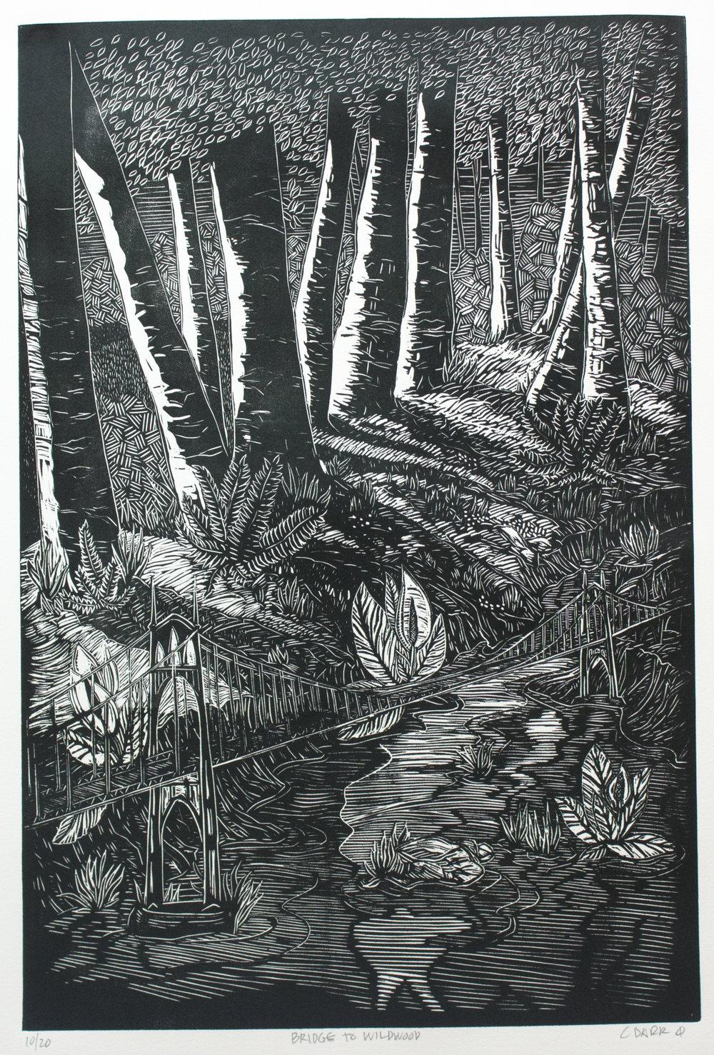 """""""BRIDGE TO WILDWOOD"""" linoleum print"""