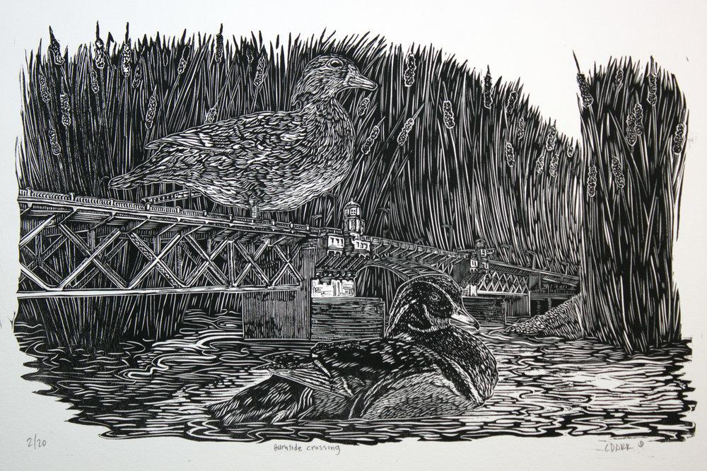 """BURNSIDE CROSSING"" linoleum print"