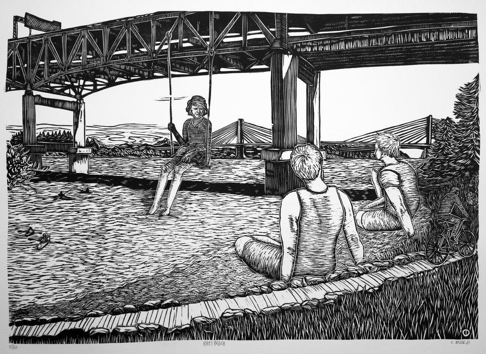 """Poet's Beach"" woodcut"