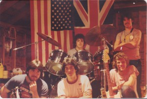 The Magic Rats in Dick Picott's garage, 1981. From left: Jonathan Roberge (bass), Slaid Cleaves (keyboards), Wayne Hutchinson (drums), Rod Picott (guitar and vocals), Jim Wolcott (vocals and sax)