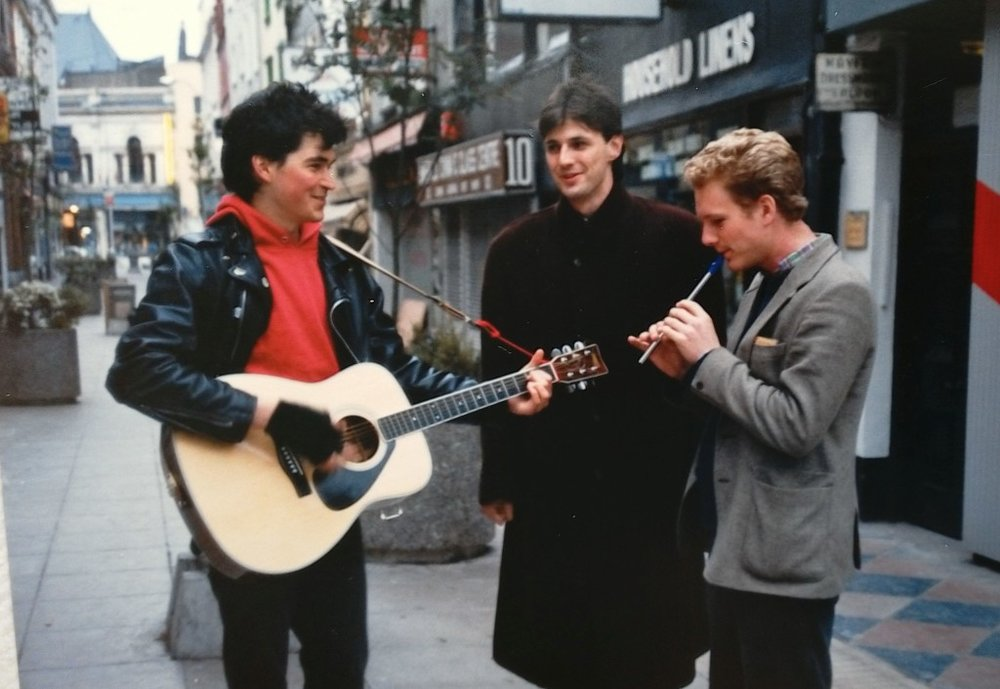Busking in Cork. That's Bill McCann on penny whistle, and Tony (our poteen connection).