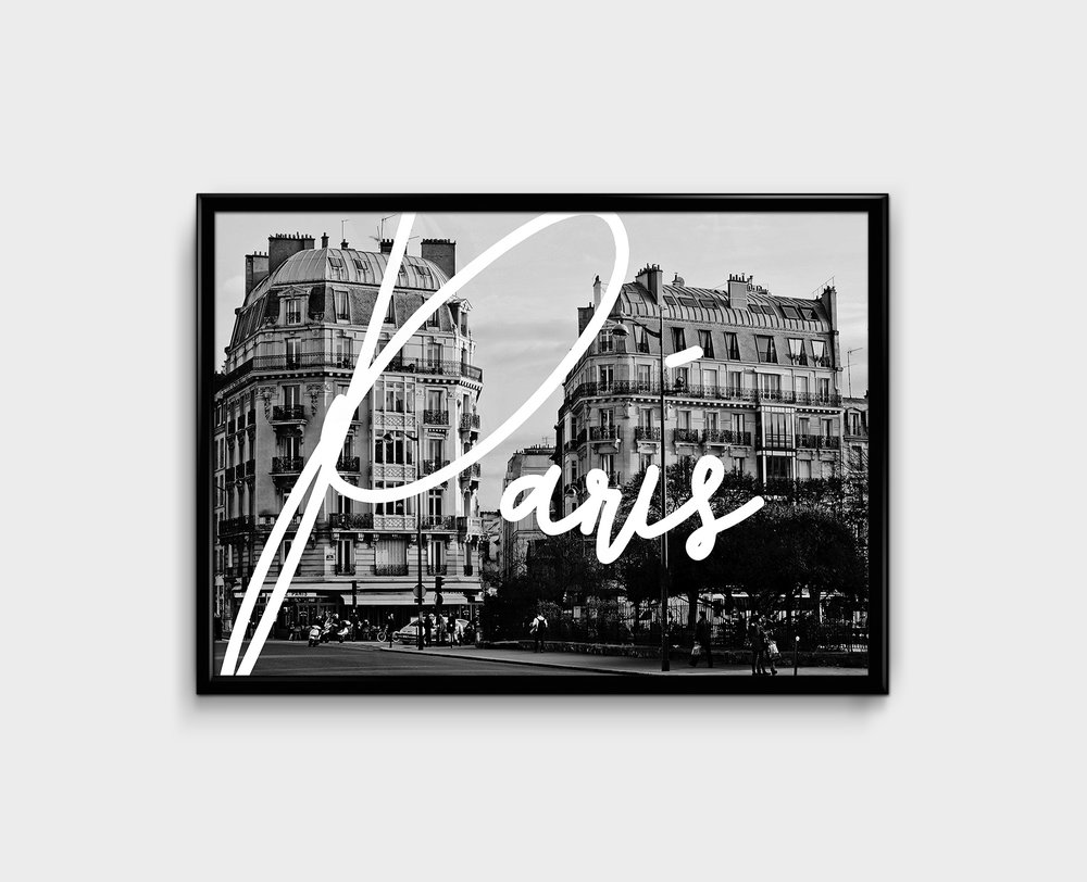 New! -City Typographic Prints - Digital Black & White Print, 350gsm