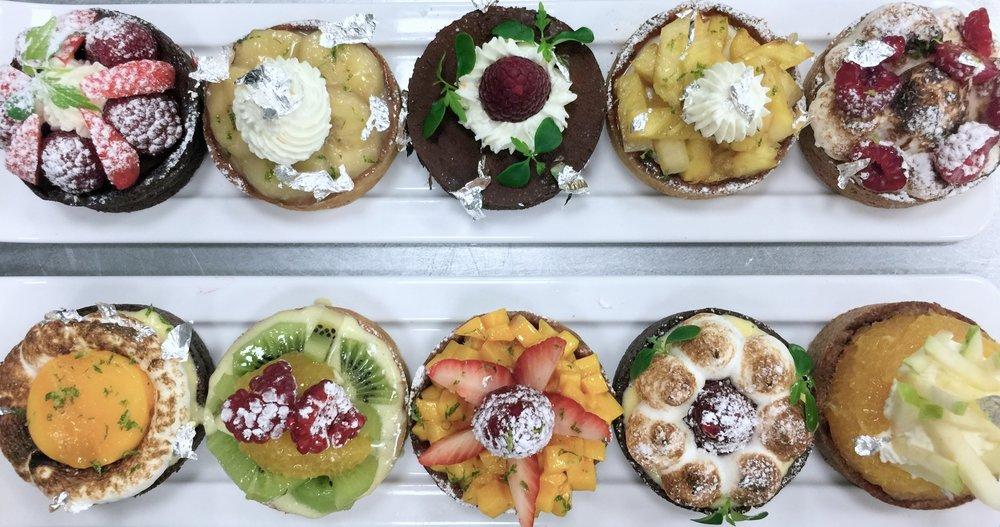French tarts, gluten-free tart, chocolate ganache, fresh fruit tart, whole grain tart, whole grain gluten-free tart