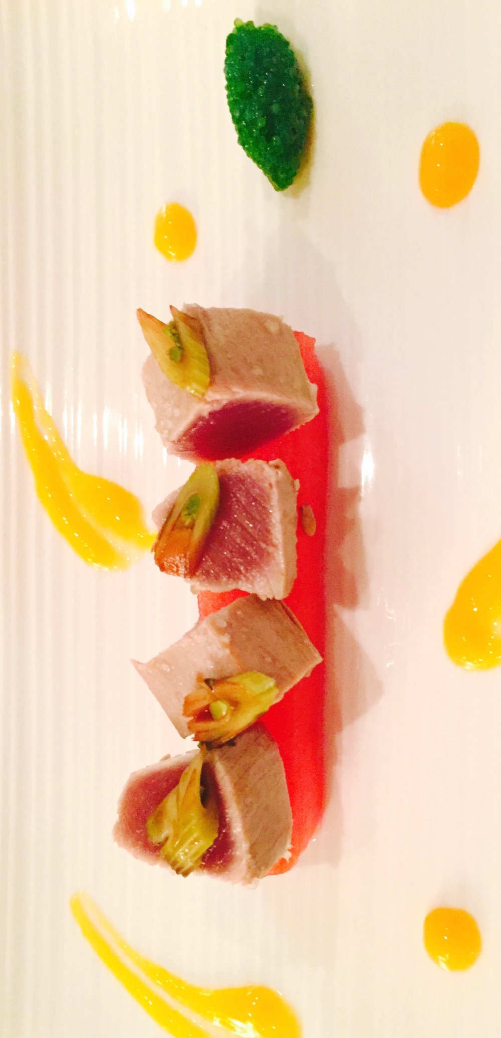 TUNA AND SOUS VIDE WATERMELON WITH WASABI CAVIAR