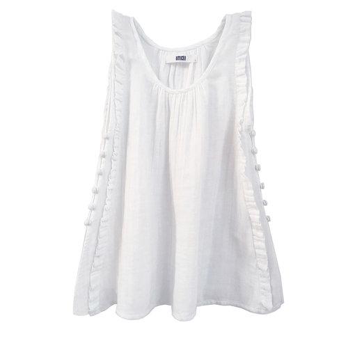 rove dress br off white double gauze indi
