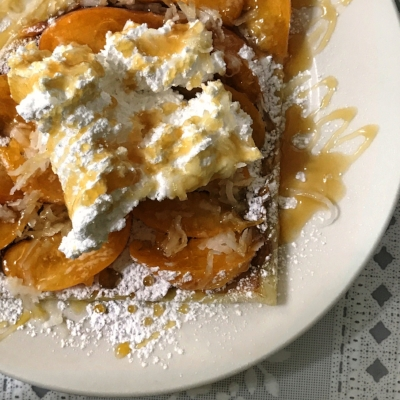 Apricot, Coconut, and Caramel Crepe